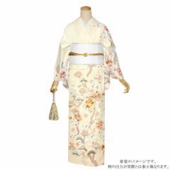 仕立て上がり 訪問着単品「薄卵色 枝垂れ桜、松」パーティー 正絹着物 正絹訪問着 [送料無料]