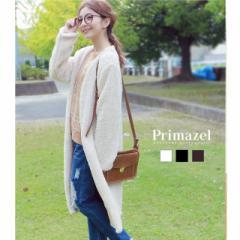 【Primazel/プリマゼル】全3色 もこもこファーノーカラーロングジャケット アウター コート ファーコート ファー 黒 白 モカ