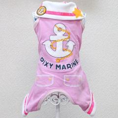 犬 犬服 ロンパース つなぎ オーバーオール ピンク Sサイズ マリン 女の子用 春夏用 ネクタイ付き プレゼント付き