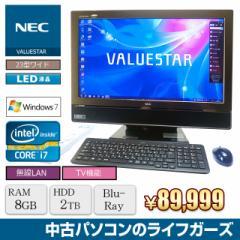 NEC 液晶一体型PC Windows7 Core i7-2630QM RAM8GB HDD2TB ブルーレイ 23型ワイド 無線LAN 地デジ フルHD VW770/ES 中古PC 2427