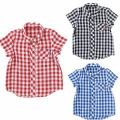 ベビー服 Tシャツ 男の子 女の子 シャツ *ボンシュシュ* ギンガムチェックガーゼ半袖シャツ 赤ちゃん 服 ベビー服 出産お祝い