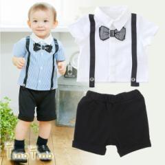 *ティノティノ* ビッグ蝶ネクタイ半袖シャツ&ズボンセット 赤ちゃん 服 ベビー服 フォーマル 上下セット 半袖 シャツ パンツ