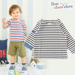 *ボンシュシュ*ボーダー肩開き長袖Tシャツ 赤ちゃん 服 ベビー服 男の子 男児 シャツ ボーダー チャックルベビー