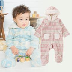 ベビー服 赤ちゃん 服 ベビー カバーオール 男の子 女の子 50 60 70 出産祝い 北欧風プリントフリースフード付きバギーオール