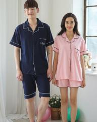 韓国風ルームウェア夏セールペアルック上下セット寝間着パジャマ部屋着 半袖ブラウス+短パン2点Tシャツ新婚お祝いガウン寝巻  恋人