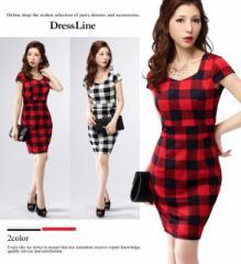 【4サイズ】ブロックチェック柄 ストレッチタイトワンピースドレス キャバ お呼ばれ XLサイズ 大きいサイズ