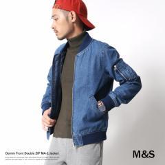 MA-1 メンズ デニム ジャケット ブルゾン インディゴ カジュアル シガーポケット M&S エムアンドエス M62-3022 6436 【pre_d】