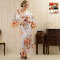 着物ドレス 花魁 ドレス 浴衣ドレス よさこい 衣装 ロング浴衣 和花柄サテンロング着物ドレス