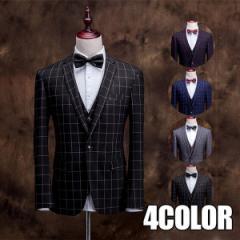 3ピーススーツ suit ビジネススーツ チェック柄スーツ スリムスーツ 通勤 入学式 成人式 結婚式 秋冬物 W-58