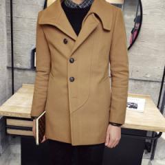 豪華感★ファッションジュニアコート メンズ アウター シングル ピーコート デート細身 メルトン テーラードジャケット 防寒 厚手