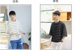 韓国風 夏用★涼しい 横縞 メンズTシャツ Uネック ファッション ゆっくり感 少年 学院風 素敵な新作 B-18