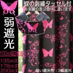 カーテン 弱遮光性 黒ピンク 100cm幅2枚組 ガーリー アゲハチョウ『 蝶 』 ショッキングピンク