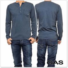 【セール 40%OFF!】GAS JEANS ガスジーンズ メンズヘンリーネックロングTシャツ THIERRY/S / 300119 182037 ネイビーブルー