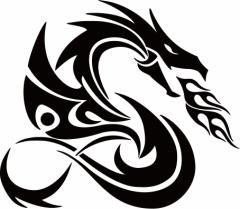 カッティングステッカー 車 バイク オシャレ カッコイイ カスタム 【ドラゴン 龍 トライバル ・4・8(右向き) サイズL】【メール便】
