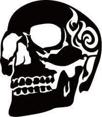 カッティングステッカー 車 バイク オシャレ カッコイイ ワンポイント【死神 スカル ドクロ トライバル ・3(左向き)】【メール便】