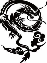 カッティングステッカー 車 バイク オシャレ カッコイイ カスタム 【ドラゴン (龍) トライバル ・4(右向き) サイズL】【メール便】