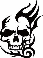 カッティングステッカー 車 バイク オシャレ カッコイイ ワンポイント 目立【死神 スカル ドクロ トライバル ・5】【メール便】