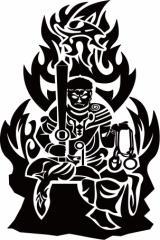 カッティングステッカー 車 バイク 仏 カッコイイ オシャレ 目立つ カスタム カー 和風 クール【不動明王 トライバル 】【メール便】