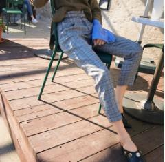 9分丈 サブリナ パンツ ベルト付き グレンチェック シック オフィスコーデ 秋冬