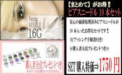 【メール便送料無料】ピアッシングニードル16G(1.2mm) 10本セット!Body Piercing Needles