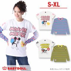 アウトレットSALE50%OFF 親子ペア ディズニー 重ね着ロンT&Tシャツ/2点セット-大人 レディース メンズ DISNEY-9459A【XL通販限定】