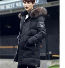ダウンジャケット メンズ ロングコート アウター コート あったか 暖 ファーフード フード取り外し 細身 厚手 防寒保温 2016秋冬 新作