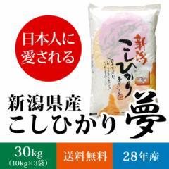 【日本に愛される】新潟県産コシヒカリ 白米 30kg(10キロ×3袋)【送料無料】《28年産 夢こしひかり お米》