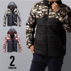中綿ジャケット メンズ ミリタリー 迷彩 アウター ジャケット コート パーカー 防寒 中綿 ジップ 大きいサイズ 冬 秋冬 冬服