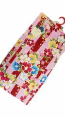 女子浴衣 日本製 5〜6歳 女子用 子供 浴衣 ピンク地 赤縞 椿 小梅 柄 no29513