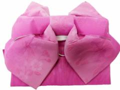 浴衣初心者でも楽々 一人で簡単に結べる 浴衣帯 軽装帯 作り帯 帯 簡単 蝶帯 ピンク地 ボカシ 小桜 柄no2901