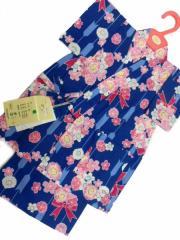 日本製 1〜2歳用 男物 子供甚平 90サイズ 紺地 八重桜 リボン柄 No.29712