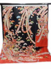豪華 正絹 振袖 仕立て付 黒地 熨斗目 貝桶 柄 no2913