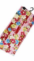 女子浴衣 日本製 11〜12歳 女子用 子供 浴衣 綿紅梅 ピンク地 赤縞 椿 小梅 柄 no29563