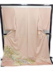 希少 正絹 色留袖 結婚式 淡いピンク地 洋花 柄 no2952