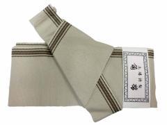 日本製 男物 軽装 角帯 ベージュ地 縞 柄no24