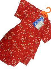 日本製 5〜6歳用 男物 子供甚平 110サイズ 赤地 小花柄 No.29725