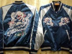 スカジャン リバーシブル 2Lサイズ 地図龍X白龍 サテンX別珍 日本製本格刺繍のスカジャン