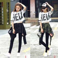 レディース ヒップホップ ダンス衣装 サルエルパンツ ジャズダンス 衣装 ストリート系  チア チアガール衣装 セットアップ10