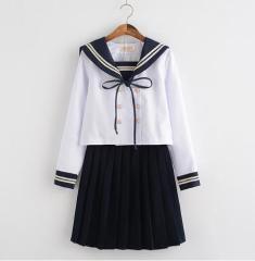レディースセーラー服ワンピース 森ガール ワンピ 学院風 マリン風 海軍風 長袖 コスプレ衣装 ストライプ