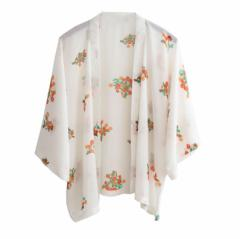 Store Babubabu ボタニカル 花柄 白 カーディガン おしゃれ かわいい レディース UV対策