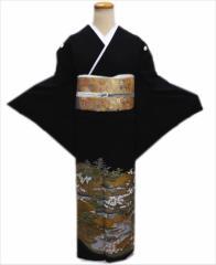 お仕立上がり正絹黒留袖・袋帯・長襦袢・帯締め・帯揚げ・扇子6点セット金彩雲茶屋辻