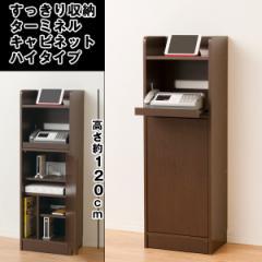 送料無料すっきり収納・ターミネルキャビネットハイタイプ (電話台,FAX台,収納ラック,木製家具,組み立て,120cm)