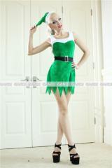 クリスマス/妖精ワンピ/サンタ衣装/コスプレ/緑 ドレス ワンピース9459