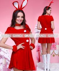クリスマス/バニーサンタ/バニーガール/サンタ衣装/コスプレ/ドレス ワンピース9448