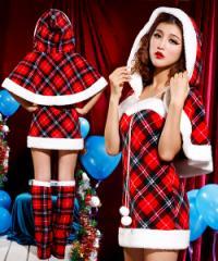 クリスマス/ケープ付きチェックワンピ/サンタ衣装/コスプレ/ドレス ワンピース9452