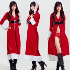 クリスマス サンタコス  衣装  コスプレ サンタクロース 仮装コスチューム 2set ガウンワンピロングドレス[F]