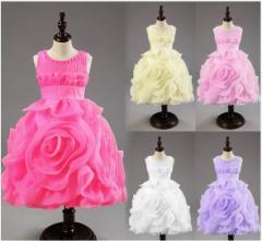 立派なバラ柄 子供 ワンピース 入園式 ピアノ 発表会 子供 ドレス 結婚式 プリンセス風 フォーマルドレス 女の子