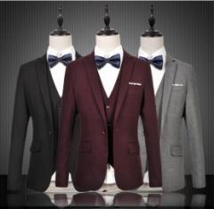 M~6XL メンズ スリムスーツ スリーピース 結婚式・二次会・パーティースーツ 3点セット ビジネス オシャレ 就職 紳士服