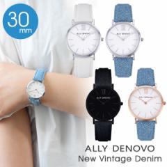 正規販売店 1年保証 ALLY DENOVO アリーデノヴォ New Vintage Denim 30mm 腕時計 レディース 腕時計 デニム 革ベルト レザー