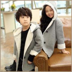 子供 子供服 キッズ ジュニア コート ジャケット アウター シンプル フード付き 上着 保温 厚い 防寒 ゆったり kd1316